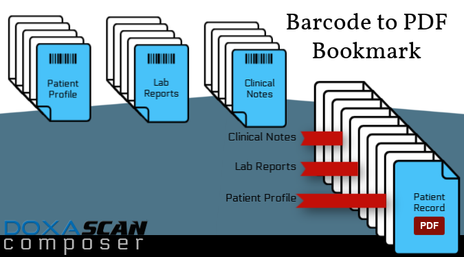 DoxaScan Composer bar code with bookmarks