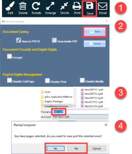 Saving changes made in the Page Assembly process.