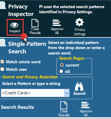 Initiate a Privacy Inspector search with the Inspect icon.