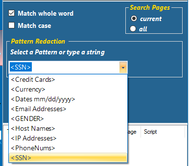 Use the pull-down list to select a single search pattern.