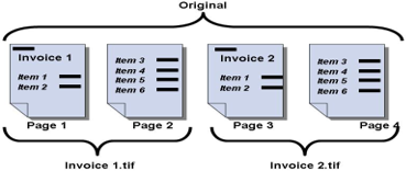 "Using the Split if Contains option with a value of ""invoice"" and renaming the file based on Barcode 1, barcode search order top to bottom."