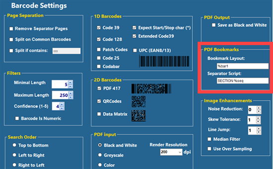 The Barcode Settings screen with the PDF Bookmarks settings highlighted