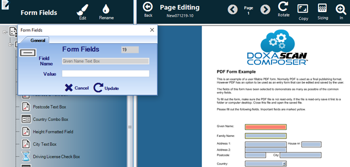 The Forms Field screen to enter data into PDF fields.