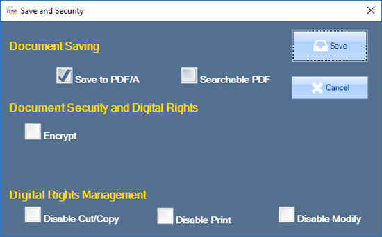 The Save and Security popup offers settings to determine how the file should be saved.