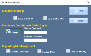 The Save with Encryption option displays input boxes for the user to create an owner password with a confirmation.