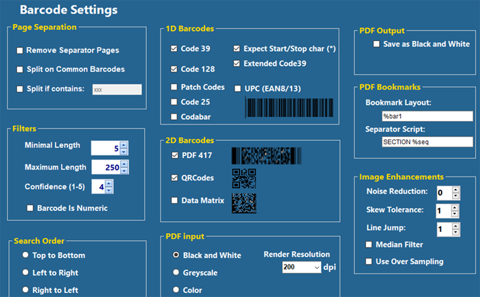 The Barcode Settings screen provides selections to manage how barcodes are identified, improved, and used.